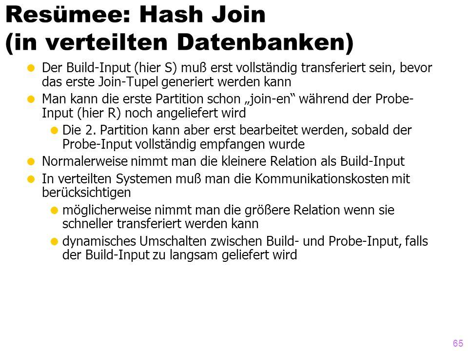 65 Resümee: Hash Join (in verteilten Datenbanken) Der Build-Input (hier S) muß erst vollständig transferiert sein, bevor das erste Join-Tupel generier