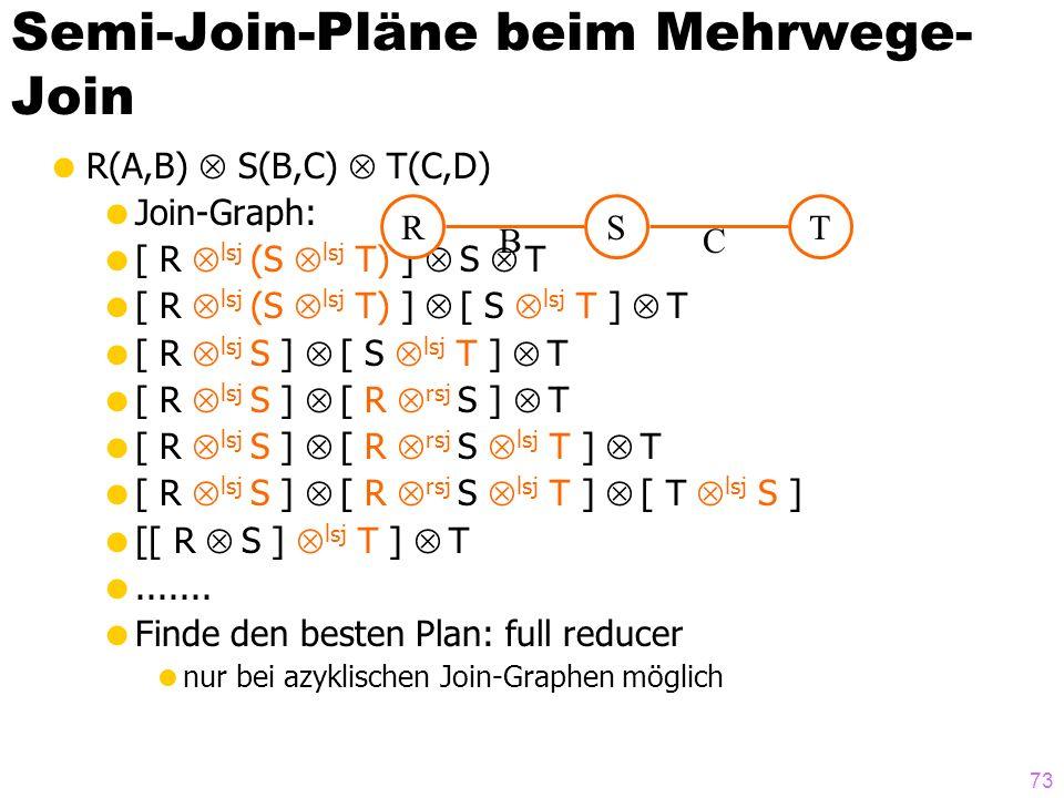 73 Semi-Join-Pläne beim Mehrwege- Join R(A,B) S(B,C) T(C,D) Join-Graph: [ R lsj (S lsj T) ] S T [ R lsj (S lsj T) ] [ S lsj T ] T [ R lsj S ] [ S lsj