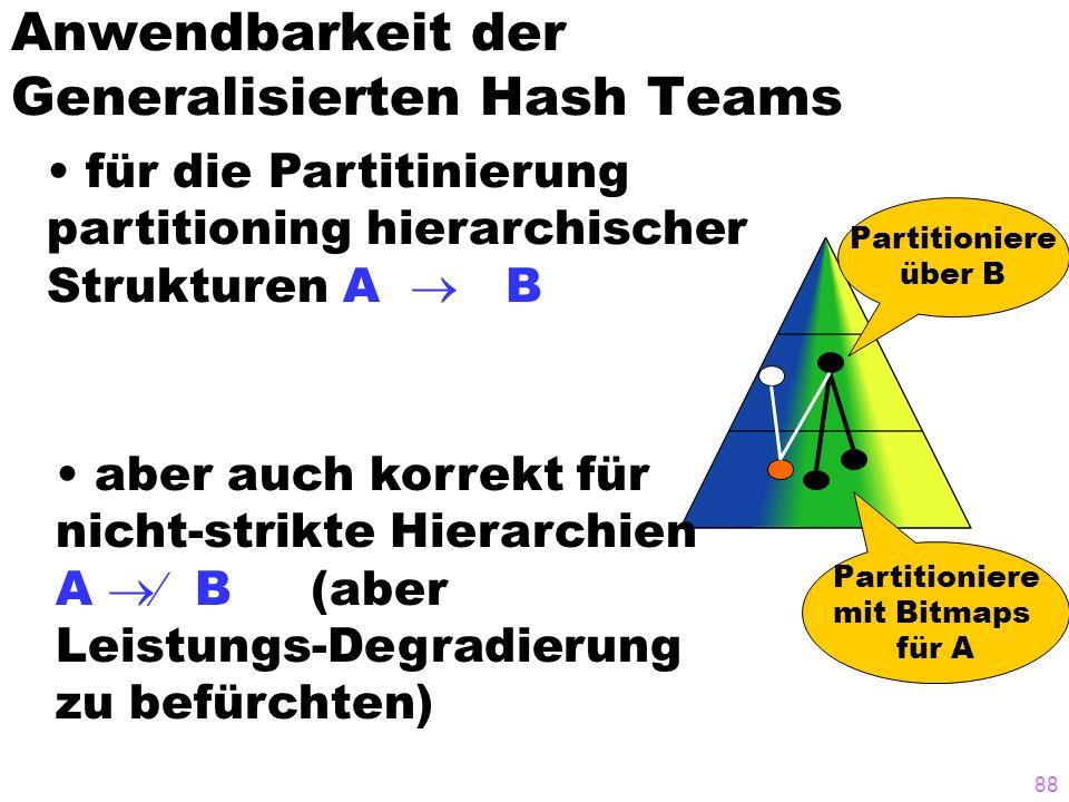 88 Anwendbarkeit der Generalisierten Hash Teams für die Partitinierung partitioning hierarchischer Strukturen A B Partitioniere über B Partitioniere m
