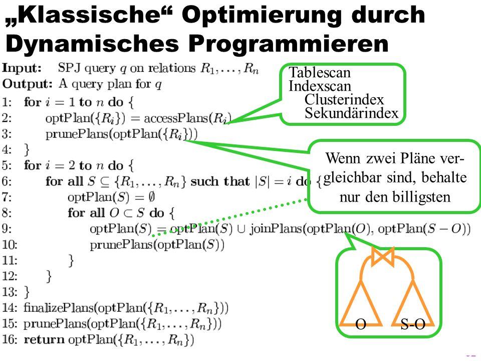 92 Klassische Optimierung durch Dynamisches Programmieren Tablescan Indexscan Clusterindex Sekundärindex OS-O Wenn zwei Pläne ver- gleichbar sind, beh