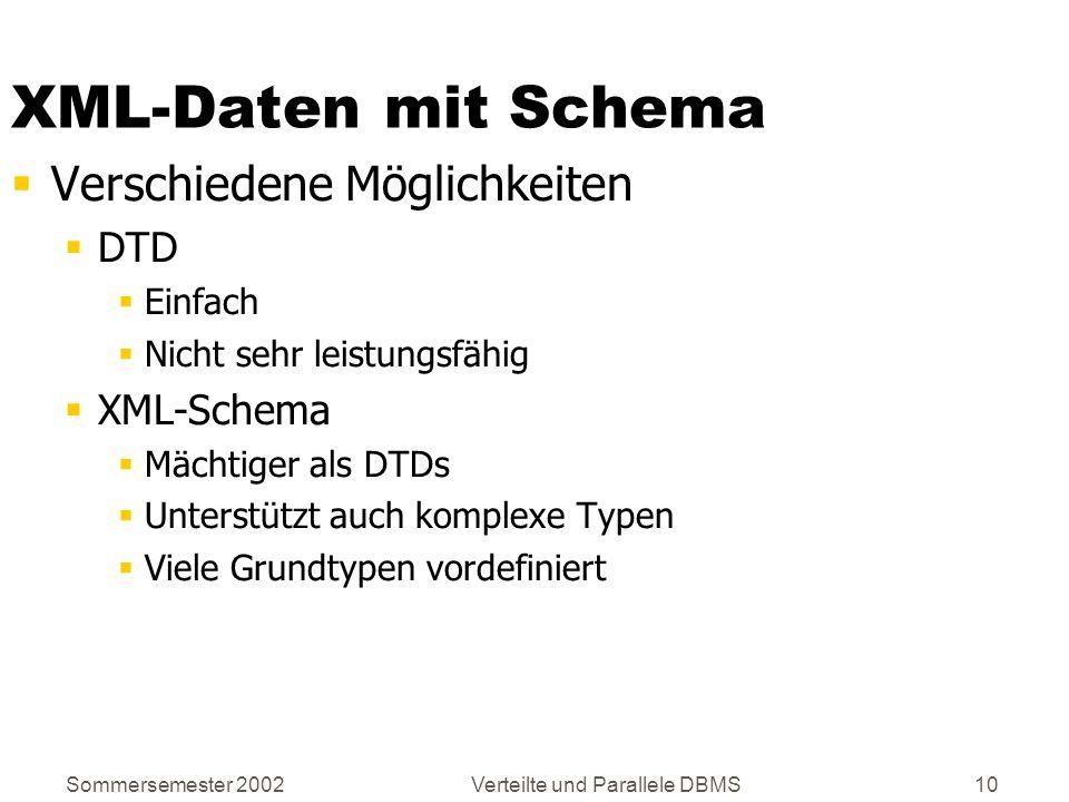 Sommersemester 2002Verteilte und Parallele DBMS10 XML-Daten mit Schema Verschiedene Möglichkeiten DTD Einfach Nicht sehr leistungsfähig XML-Schema Mäc