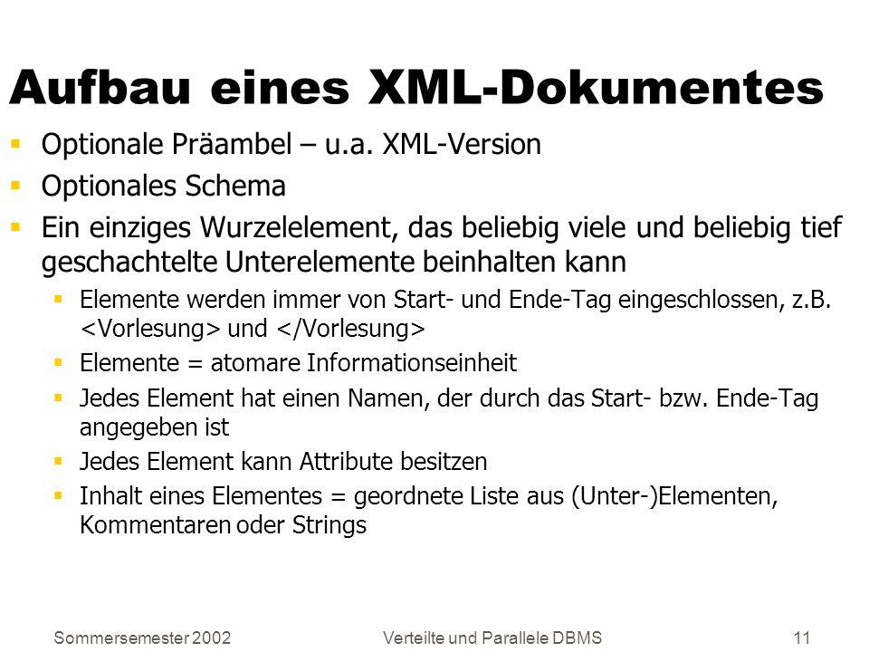Sommersemester 2002Verteilte und Parallele DBMS11 Aufbau eines XML-Dokumentes Optionale Präambel – u.a. XML-Version Optionales Schema Ein einziges Wur
