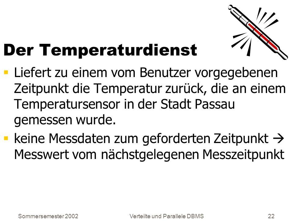 Sommersemester 2002Verteilte und Parallele DBMS22 Der Temperaturdienst Liefert zu einem vom Benutzer vorgegebenen Zeitpunkt die Temperatur zurück, die