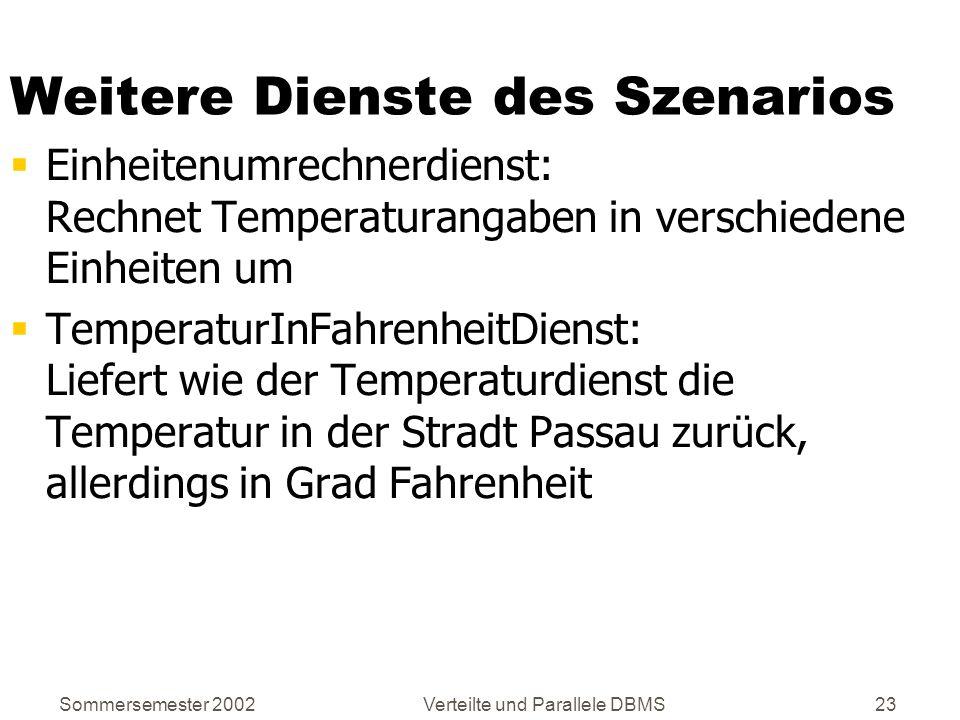 Sommersemester 2002Verteilte und Parallele DBMS23 Weitere Dienste des Szenarios Einheitenumrechnerdienst: Rechnet Temperaturangaben in verschiedene Ei