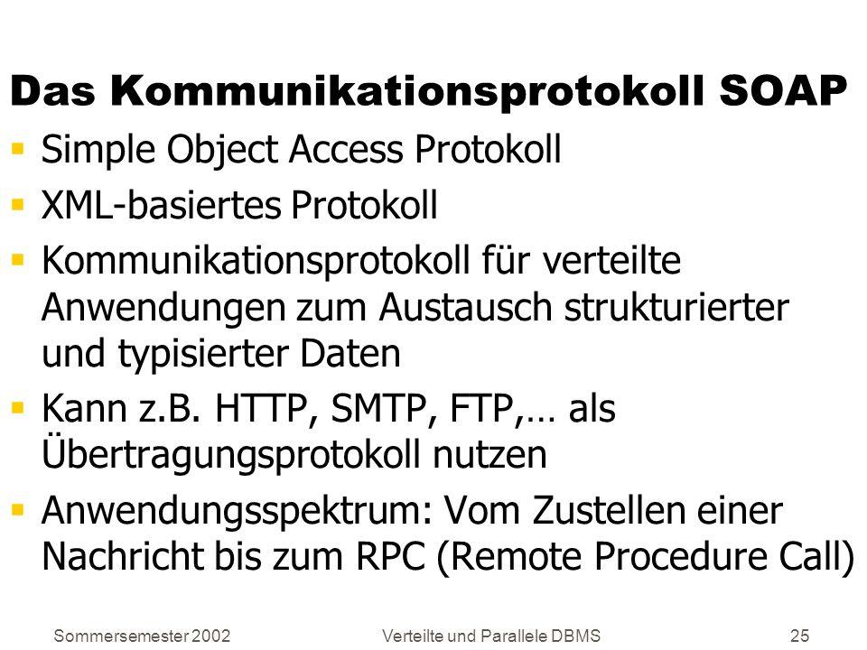Sommersemester 2002Verteilte und Parallele DBMS25 Das Kommunikationsprotokoll SOAP Simple Object Access Protokoll XML-basiertes Protokoll Kommunikatio