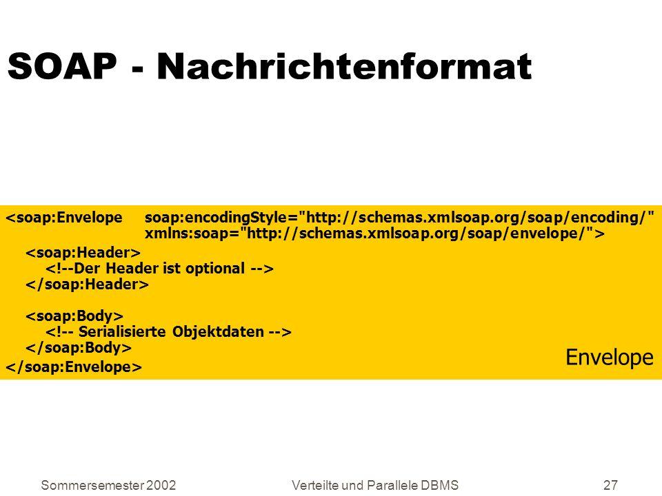 Sommersemester 2002Verteilte und Parallele DBMS27 SOAP - Nachrichtenformat Envelope