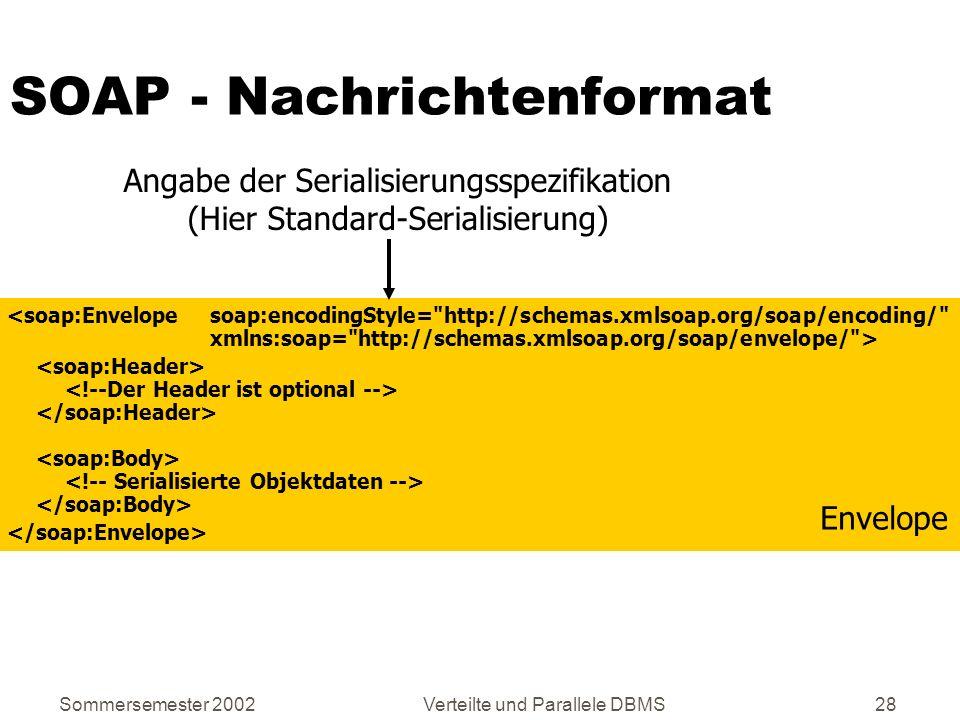 Sommersemester 2002Verteilte und Parallele DBMS28 SOAP - Nachrichtenformat Envelope Angabe der Serialisierungsspezifikation (Hier Standard-Serialisier