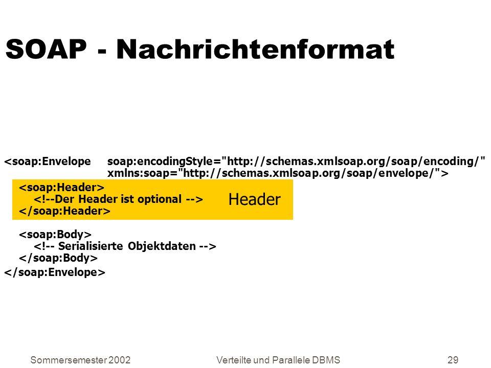 Sommersemester 2002Verteilte und Parallele DBMS29 SOAP - Nachrichtenformat Header