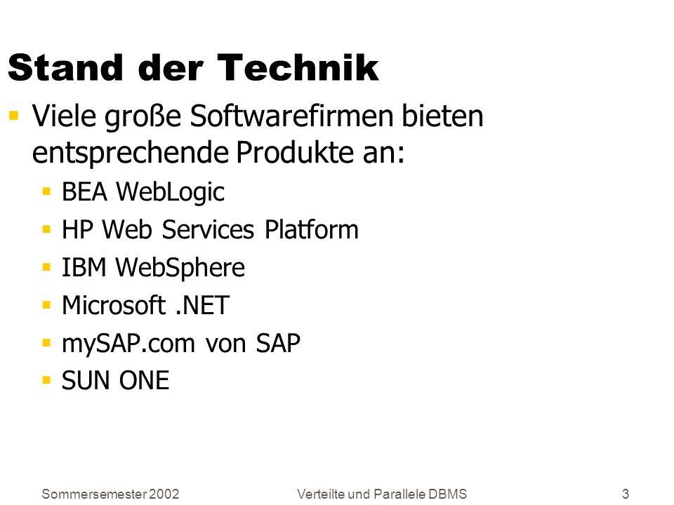 Sommersemester 2002Verteilte und Parallele DBMS3 Stand der Technik Viele große Softwarefirmen bieten entsprechende Produkte an: BEA WebLogic HP Web Se