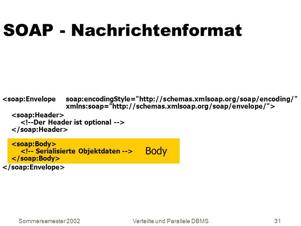 Sommersemester 2002Verteilte und Parallele DBMS31 SOAP - Nachrichtenformat Body