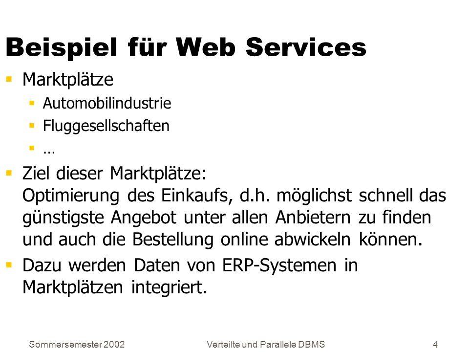 Sommersemester 2002Verteilte und Parallele DBMS25 Das Kommunikationsprotokoll SOAP Simple Object Access Protokoll XML-basiertes Protokoll Kommunikationsprotokoll für verteilte Anwendungen zum Austausch strukturierter und typisierter Daten Kann z.B.