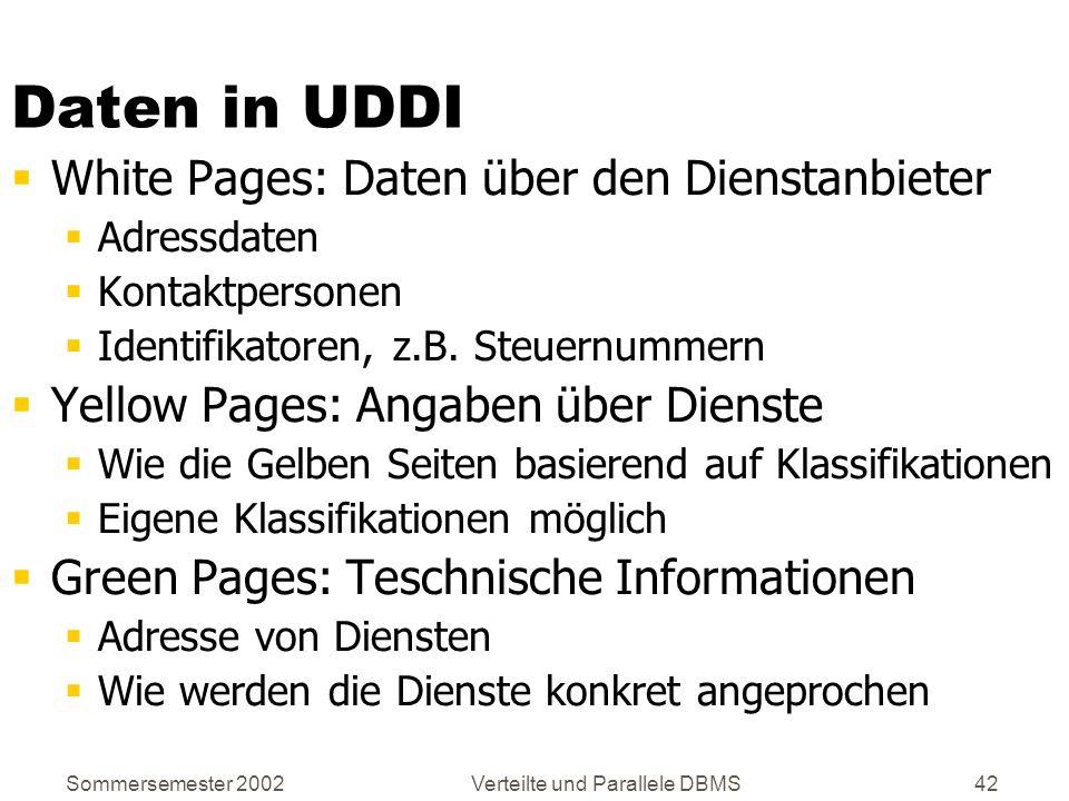 Sommersemester 2002Verteilte und Parallele DBMS42 Daten in UDDI White Pages: Daten über den Dienstanbieter Adressdaten Kontaktpersonen Identifikatoren