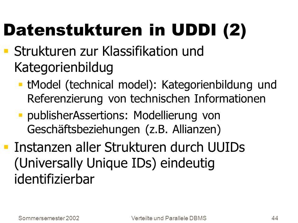 Sommersemester 2002Verteilte und Parallele DBMS44 Datenstukturen in UDDI (2) Strukturen zur Klassifikation und Kategorienbildug tModel (technical mode