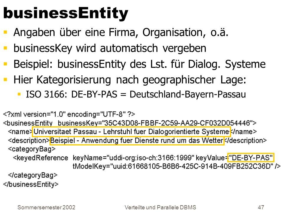 Sommersemester 2002Verteilte und Parallele DBMS47 businessEntity Angaben über eine Firma, Organisation, o.ä. businessKey wird automatisch vergeben Bei