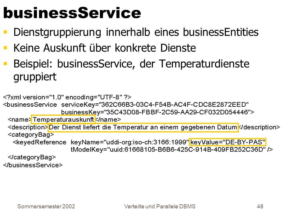 Sommersemester 2002Verteilte und Parallele DBMS48 businessService Dienstgruppierung innerhalb eines businessEntities Keine Auskunft über konkrete Dien