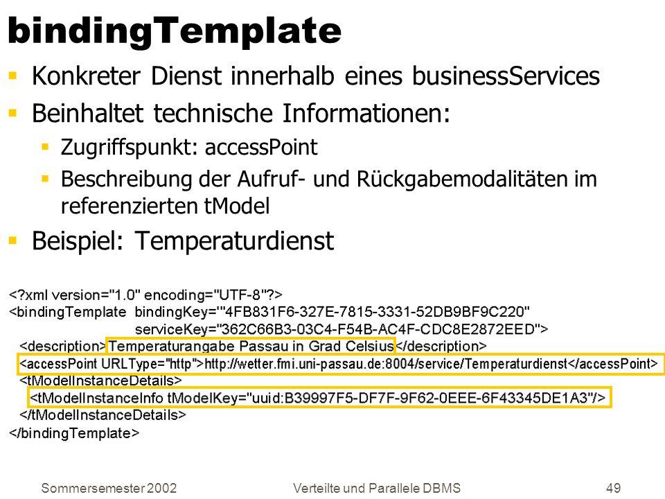 Sommersemester 2002Verteilte und Parallele DBMS49 bindingTemplate Konkreter Dienst innerhalb eines businessServices Beinhaltet technische Informatione
