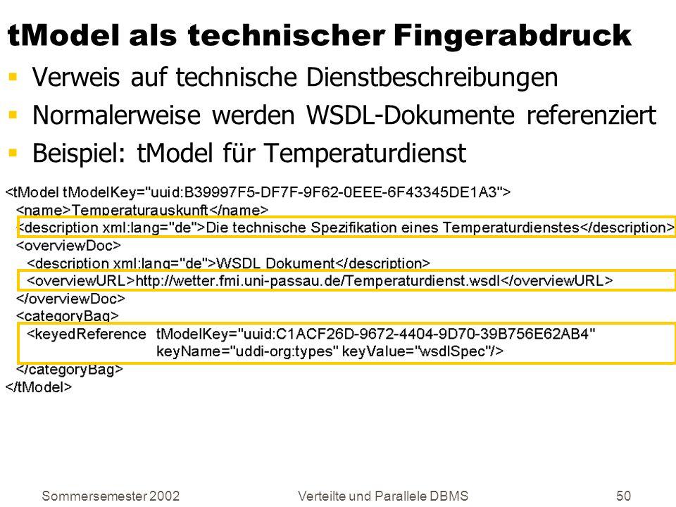 Sommersemester 2002Verteilte und Parallele DBMS50 tModel als technischer Fingerabdruck Verweis auf technische Dienstbeschreibungen Normalerweise werde