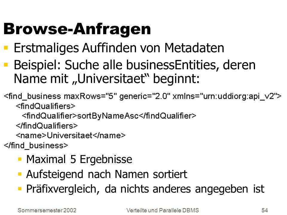 Sommersemester 2002Verteilte und Parallele DBMS54 Browse-Anfragen Erstmaliges Auffinden von Metadaten Beispiel: Suche alle businessEntities, deren Nam