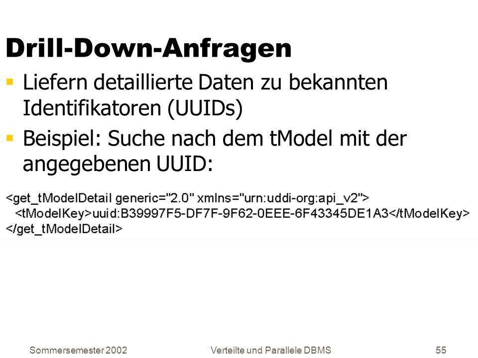 Sommersemester 2002Verteilte und Parallele DBMS55 Drill-Down-Anfragen Liefern detaillierte Daten zu bekannten Identifikatoren (UUIDs) Beispiel: Suche