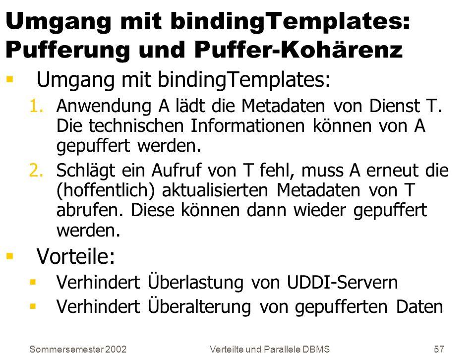 Sommersemester 2002Verteilte und Parallele DBMS57 Umgang mit bindingTemplates: Pufferung und Puffer-Kohärenz Umgang mit bindingTemplates: 1.Anwendung