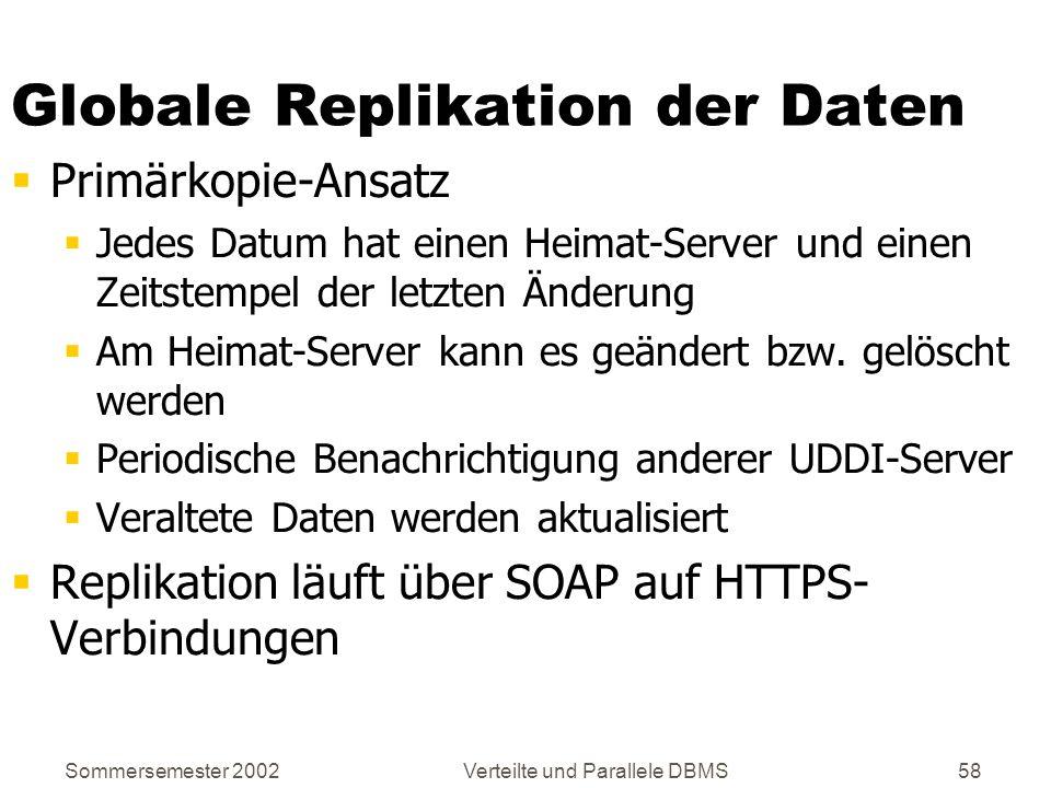Sommersemester 2002Verteilte und Parallele DBMS58 Globale Replikation der Daten Primärkopie-Ansatz Jedes Datum hat einen Heimat-Server und einen Zeits