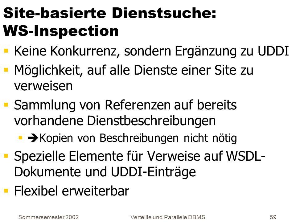 Sommersemester 2002Verteilte und Parallele DBMS59 Site-basierte Dienstsuche: WS-Inspection Keine Konkurrenz, sondern Ergänzung zu UDDI Möglichkeit, au