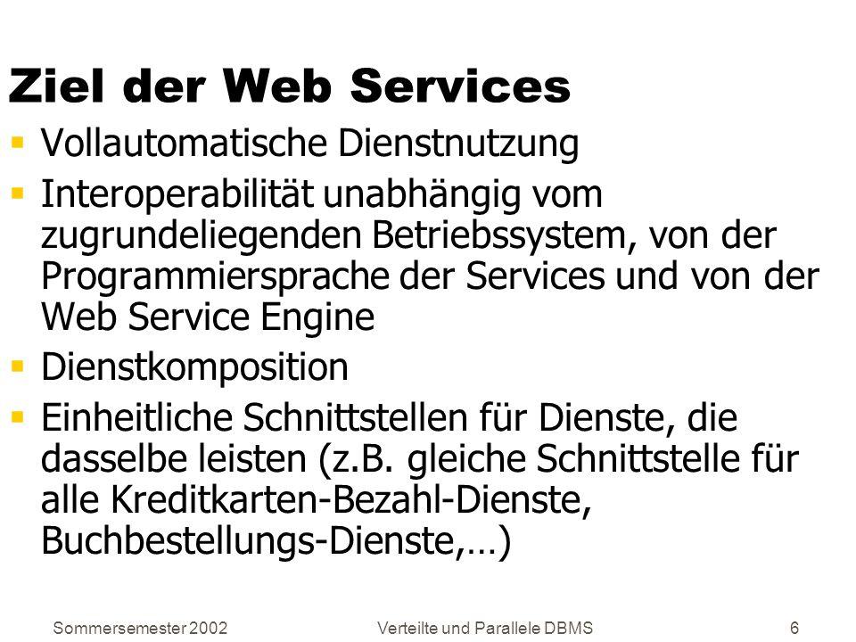 Sommersemester 2002Verteilte und Parallele DBMS77 ServiceGlobe Forschungsplattform für Web Services basierend auf: SOAP UDDI WSDL Neuartige Infrastruktur: Web Services können auf beliebigen Service Hosts ausgeführt werden Dynamische Dienstauswahl Adaptoren zum Einbinden von existierenden, nicht- konformen Diensten (z.B.