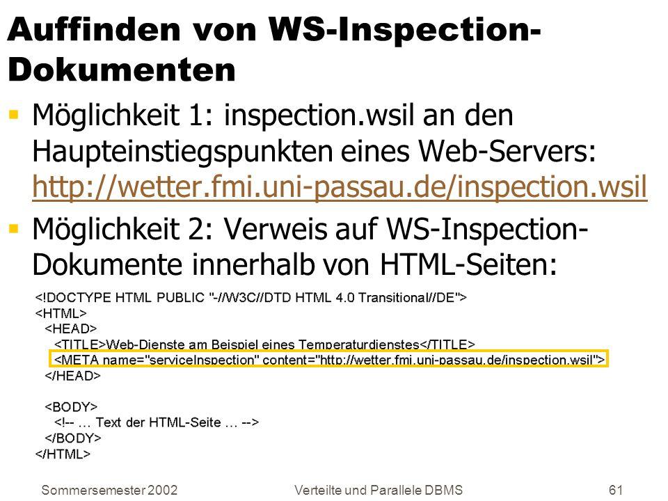 Sommersemester 2002Verteilte und Parallele DBMS61 Auffinden von WS-Inspection- Dokumenten Möglichkeit 1: inspection.wsil an den Haupteinstiegspunkten