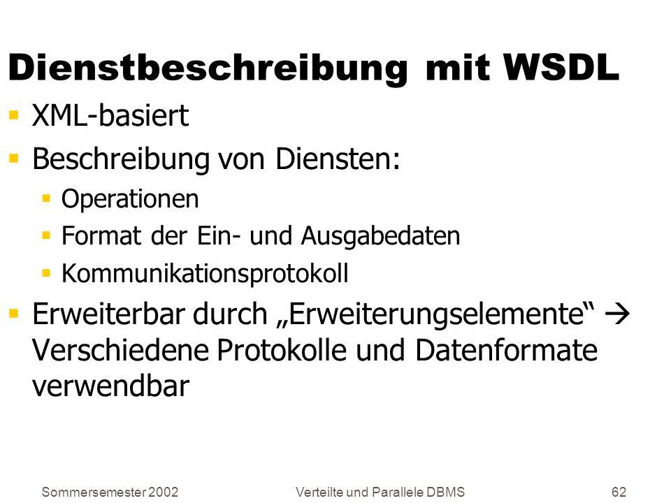 Sommersemester 2002Verteilte und Parallele DBMS62 Dienstbeschreibung mit WSDL XML-basiert Beschreibung von Diensten: Operationen Format der Ein- und A