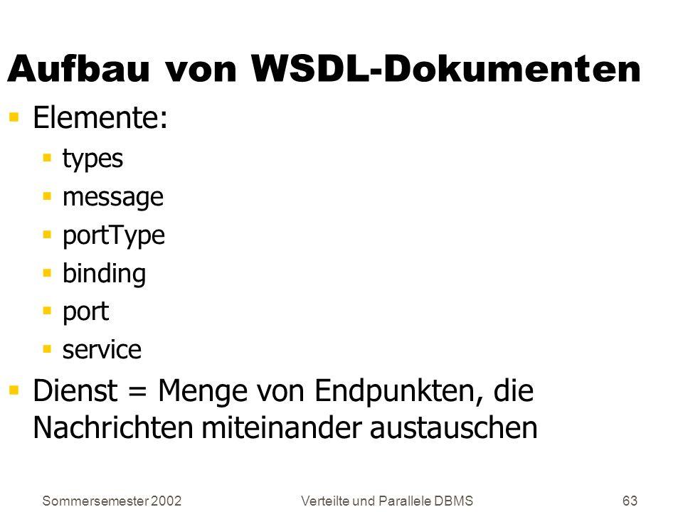 Sommersemester 2002Verteilte und Parallele DBMS63 Aufbau von WSDL-Dokumenten Elemente: types message portType binding port service Dienst = Menge von