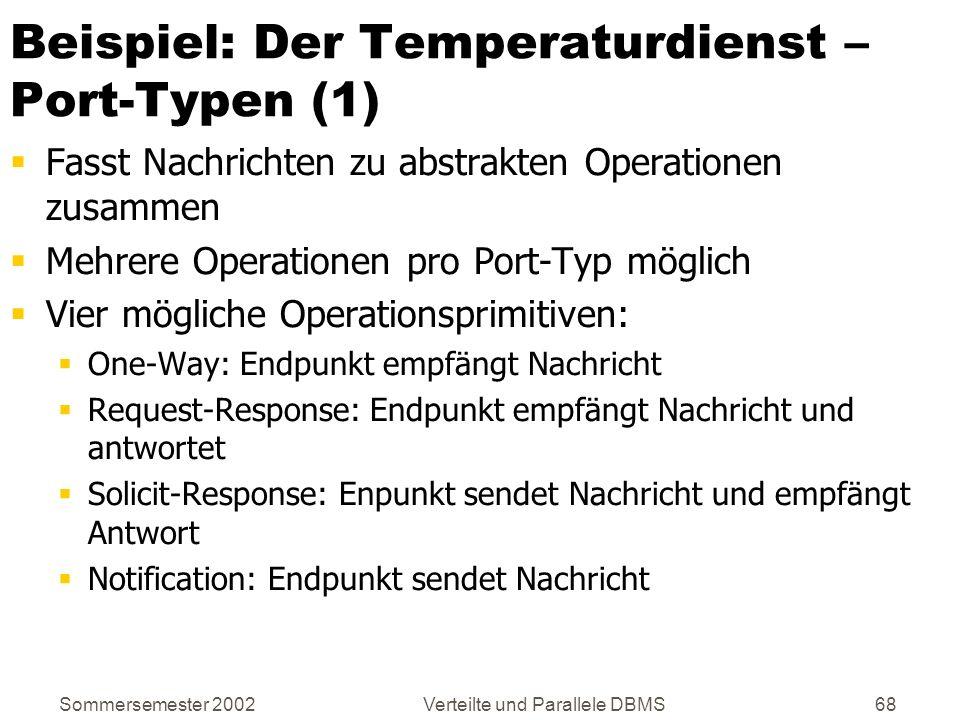 Sommersemester 2002Verteilte und Parallele DBMS68 Beispiel: Der Temperaturdienst – Port-Typen (1) Fasst Nachrichten zu abstrakten Operationen zusammen