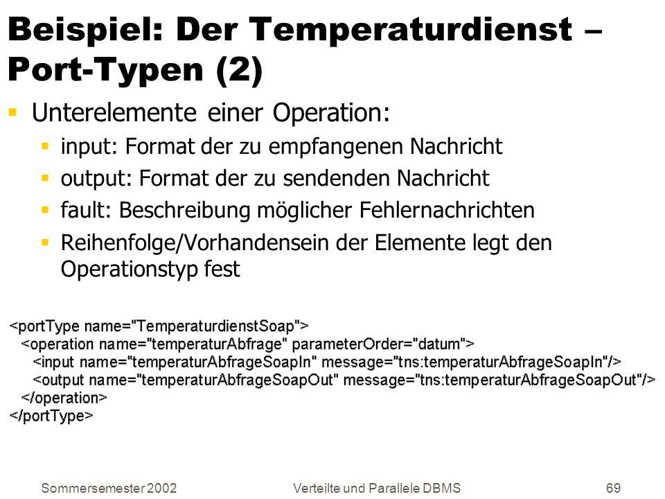 Sommersemester 2002Verteilte und Parallele DBMS69 Beispiel: Der Temperaturdienst – Port-Typen (2) Unterelemente einer Operation: input: Format der zu