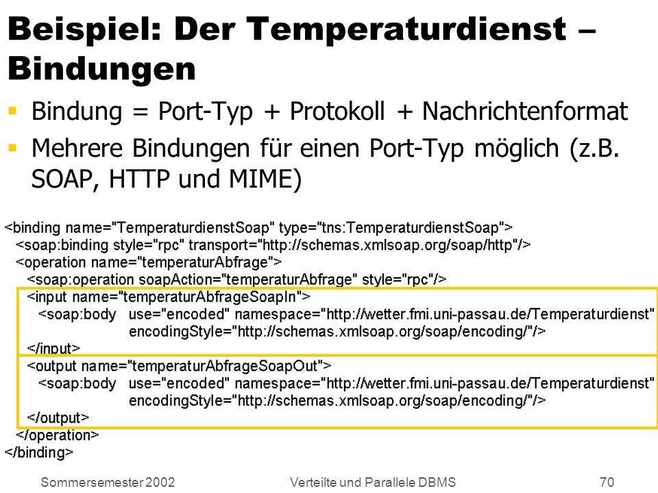 Sommersemester 2002Verteilte und Parallele DBMS70 Beispiel: Der Temperaturdienst – Bindungen Bindung = Port-Typ + Protokoll + Nachrichtenformat Mehrer