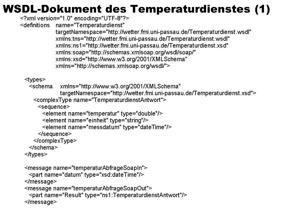 Sommersemester 2002Verteilte und Parallele DBMS72 WSDL-Dokument des Temperaturdienstes (1)