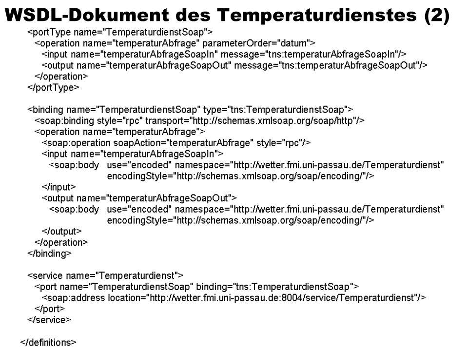Sommersemester 2002Verteilte und Parallele DBMS73 WSDL-Dokument des Temperaturdienstes (2)