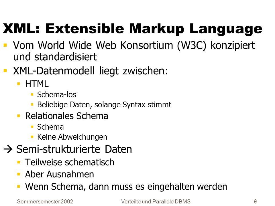 Sommersemester 2002Verteilte und Parallele DBMS9 XML: Extensible Markup Language Vom World Wide Web Konsortium (W3C) konzipiert und standardisiert XML