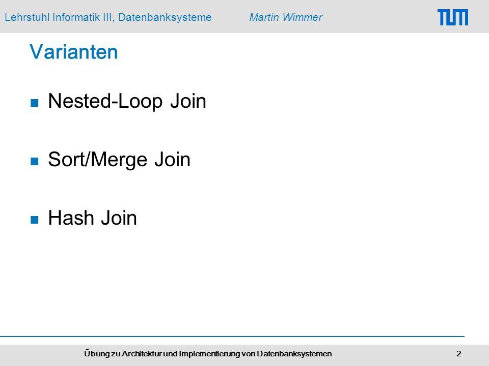 Lehrstuhl Informatik III, DatenbanksystemeMartin Wimmer Übung zu Architektur und Implementierung von Datenbanksystemen 2 Varianten Nested-Loop Join Sort/Merge Join Hash Join