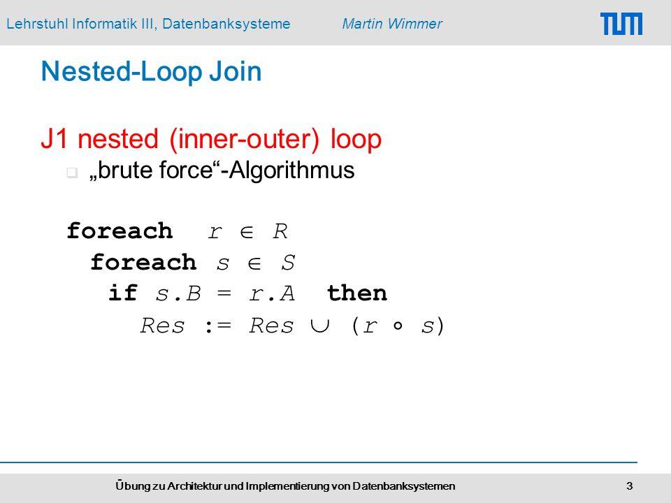 Lehrstuhl Informatik III, DatenbanksystemeMartin Wimmer Übung zu Architektur und Implementierung von Datenbanksystemen 3 Nested-Loop Join J1 nested (i