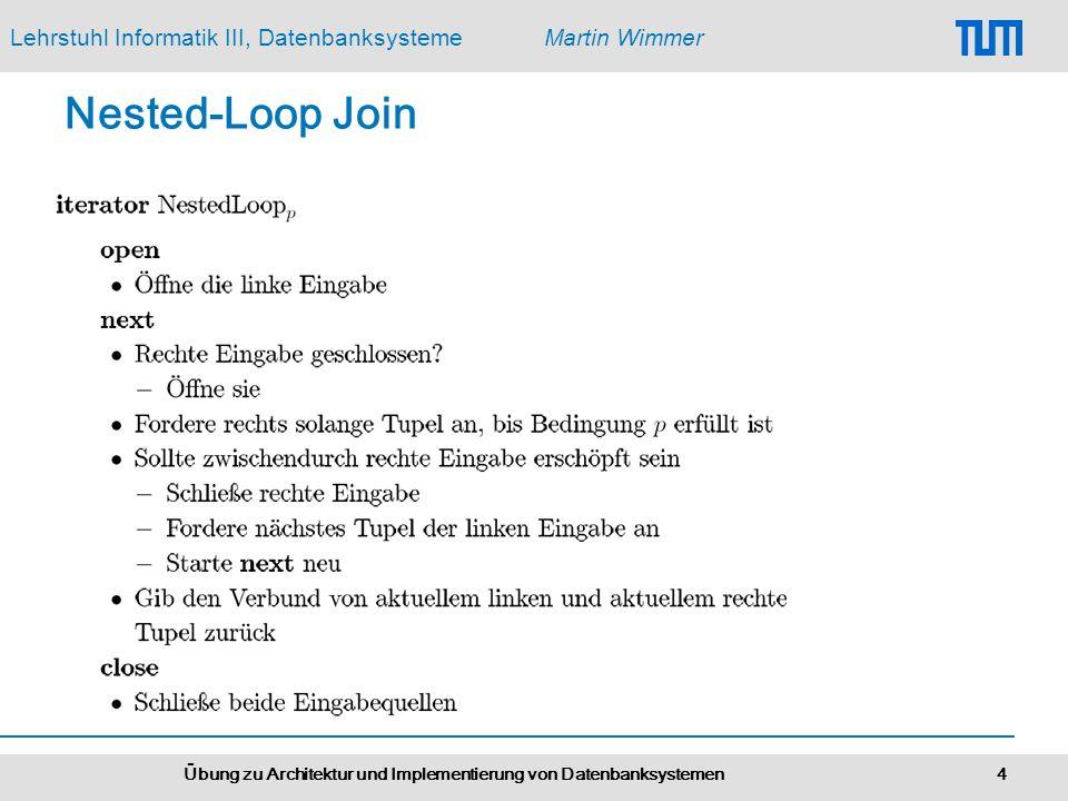 Lehrstuhl Informatik III, DatenbanksystemeMartin Wimmer Übung zu Architektur und Implementierung von Datenbanksystemen 4 Nested-Loop Join