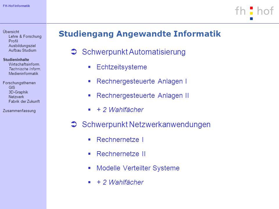 FH-Hof Informatik Studiengang Angewandte Informatik Schwerpunkt Automatisierung Echtzeitsysteme Rechnergesteuerte Anlagen I Rechnergesteuerte Anlagen