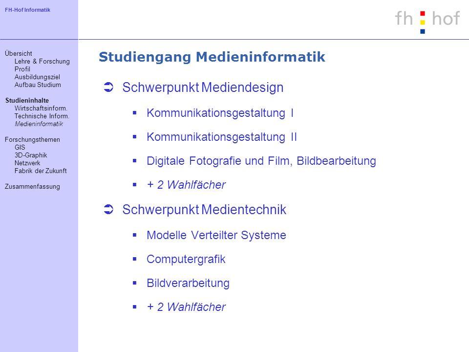 FH-Hof Informatik Studiengang Medieninformatik Schwerpunkt Mediendesign Kommunikationsgestaltung I Kommunikationsgestaltung II Digitale Fotografie und
