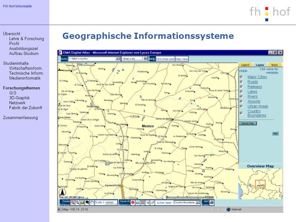 FH-Hof Informatik Geographische Informationssysteme Übersicht Lehre & Forschung Profil Ausbildungsziel Aufbau Studium Studieninhalte Wirtschaftsinform
