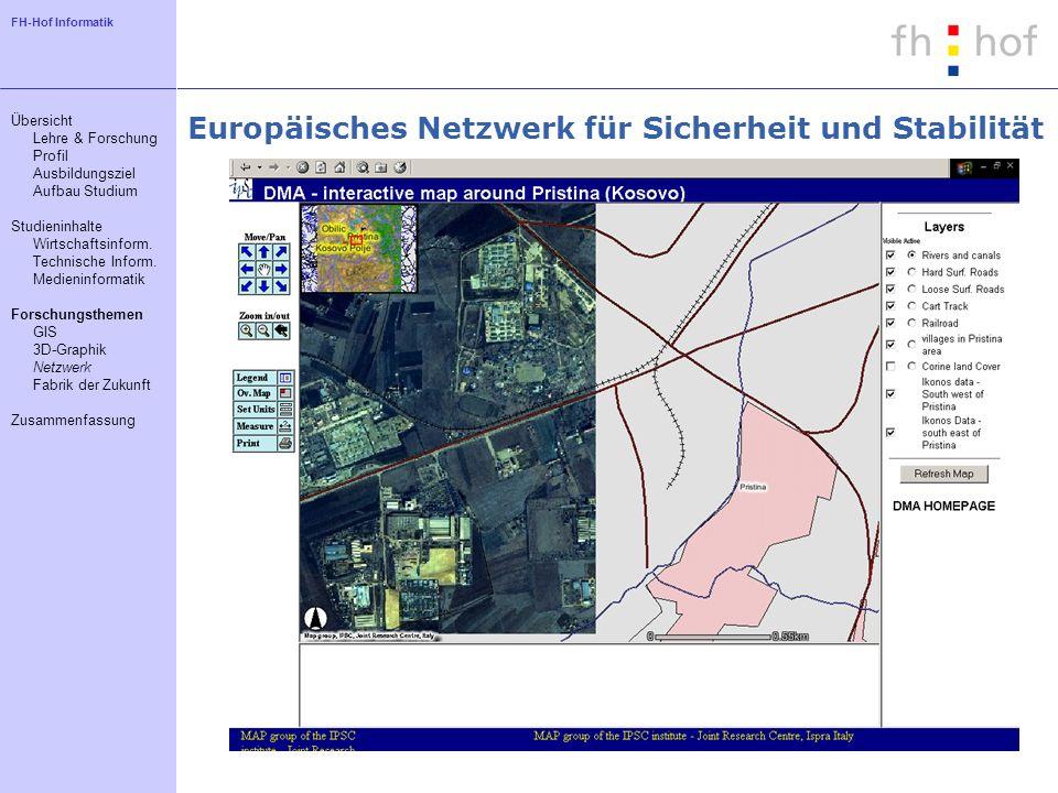 FH-Hof Informatik Europäisches Netzwerk für Sicherheit und Stabilität Übersicht Lehre & Forschung Profil Ausbildungsziel Aufbau Studium Studieninhalte