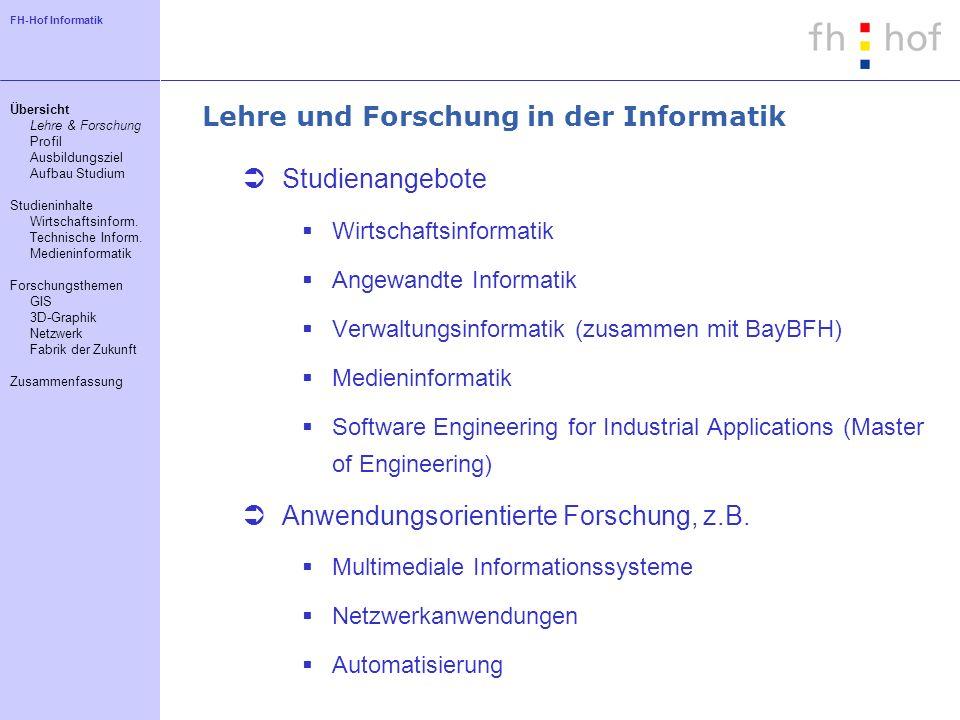 FH-Hof Informatik Lehre und Forschung in der Informatik Studienangebote Wirtschaftsinformatik Angewandte Informatik Verwaltungsinformatik (zusammen mi