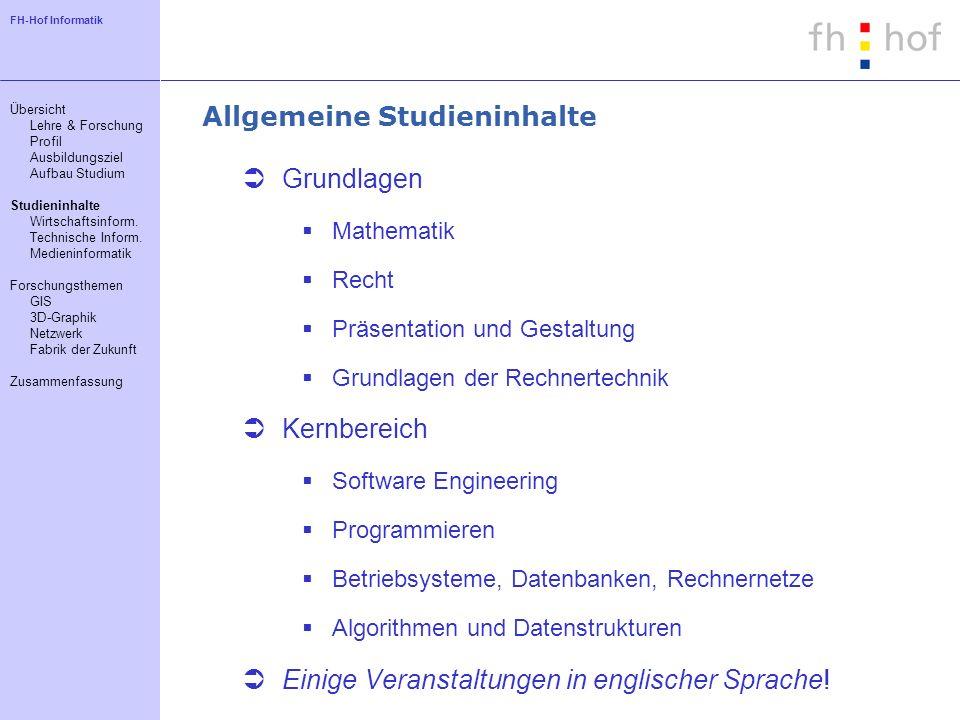 FH-Hof Informatik Allgemeine Studieninhalte Grundlagen Mathematik Recht Präsentation und Gestaltung Grundlagen der Rechnertechnik Kernbereich Software