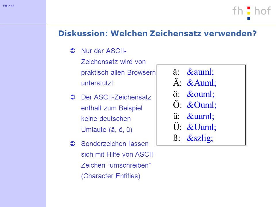 FH-Hof Diskussion: Welchen Zeichensatz verwenden? Nur der ASCII- Zeichensatz wird von praktisch allen Browsern unterstützt Der ASCII-Zeichensatz enthä
