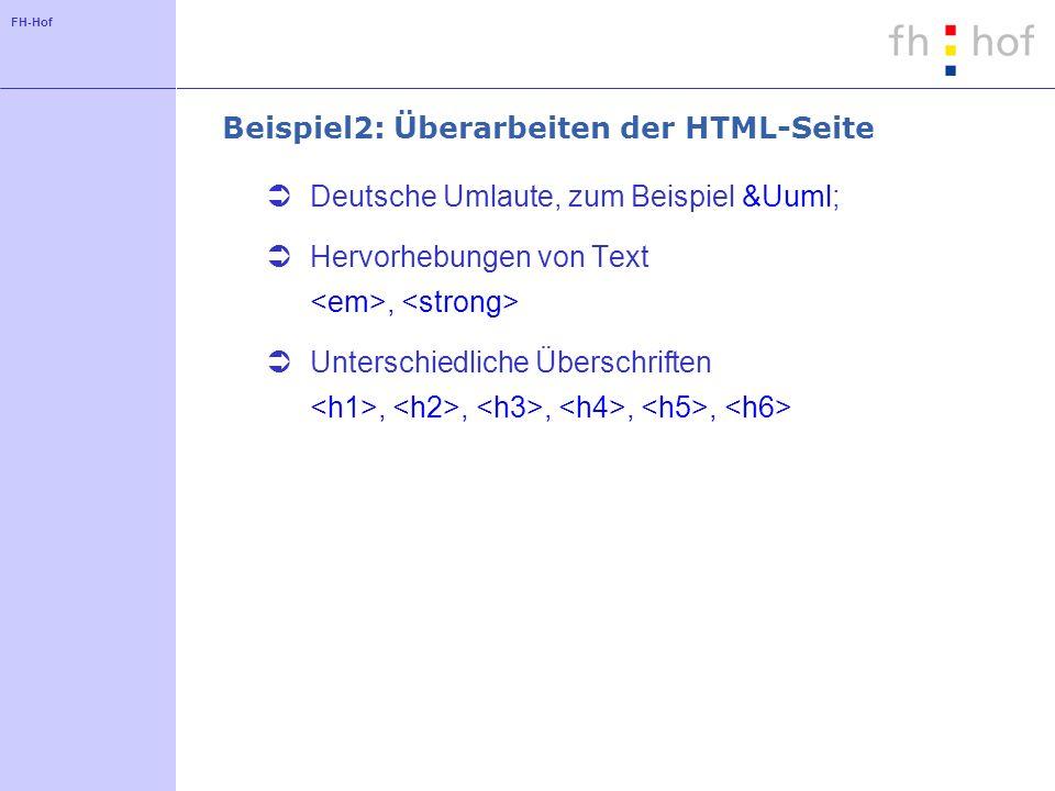 FH-Hof Beispiel2: Überarbeiten der HTML-Seite Deutsche Umlaute, zum Beispiel Ü Hervorhebungen von Text, Unterschiedliche Überschriften,,,,,