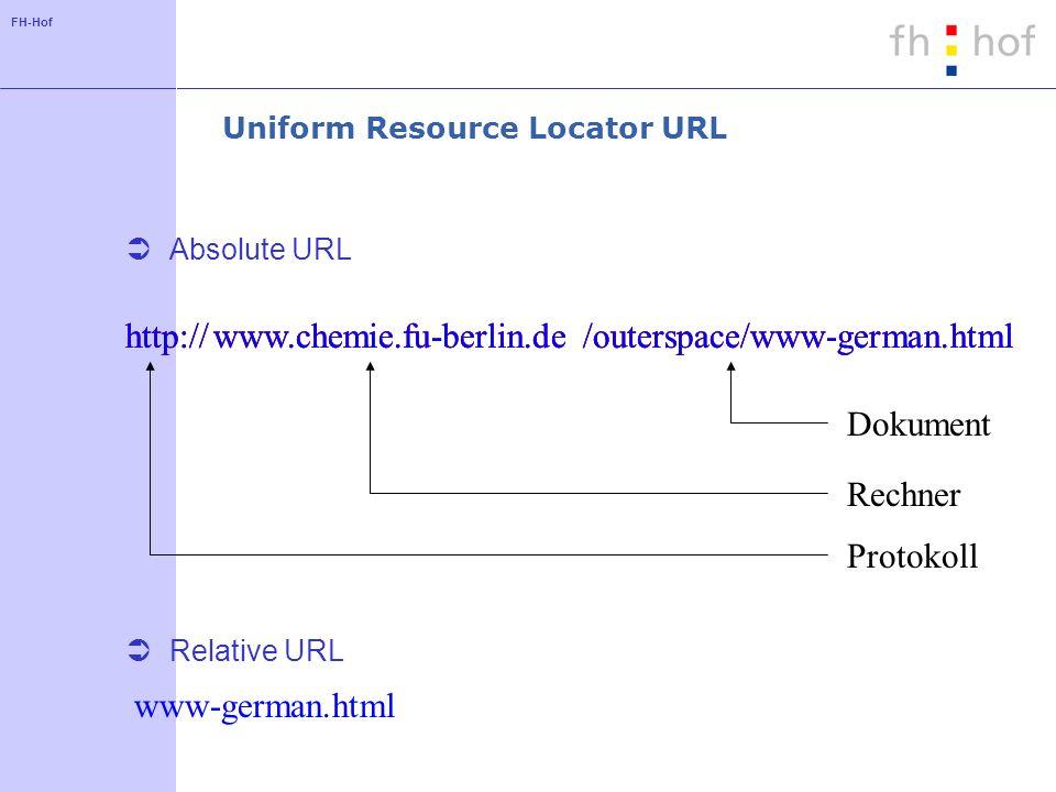 FH-Hof Uniform Resource Locator URL Absolute URL Relative URL http://www.chemie.fu-berlin.de/outerspace/www-german.html Protokoll Rechner Dokument htt