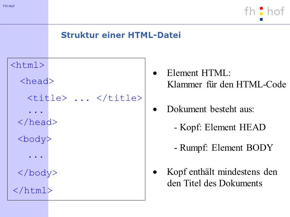 FH-Hof Struktur einer HTML-Datei... Element HTML: Klammer für den HTML-Code Dokument besteht aus: - Kopf: Element HEAD - Rumpf: Element BODY Kopf enth