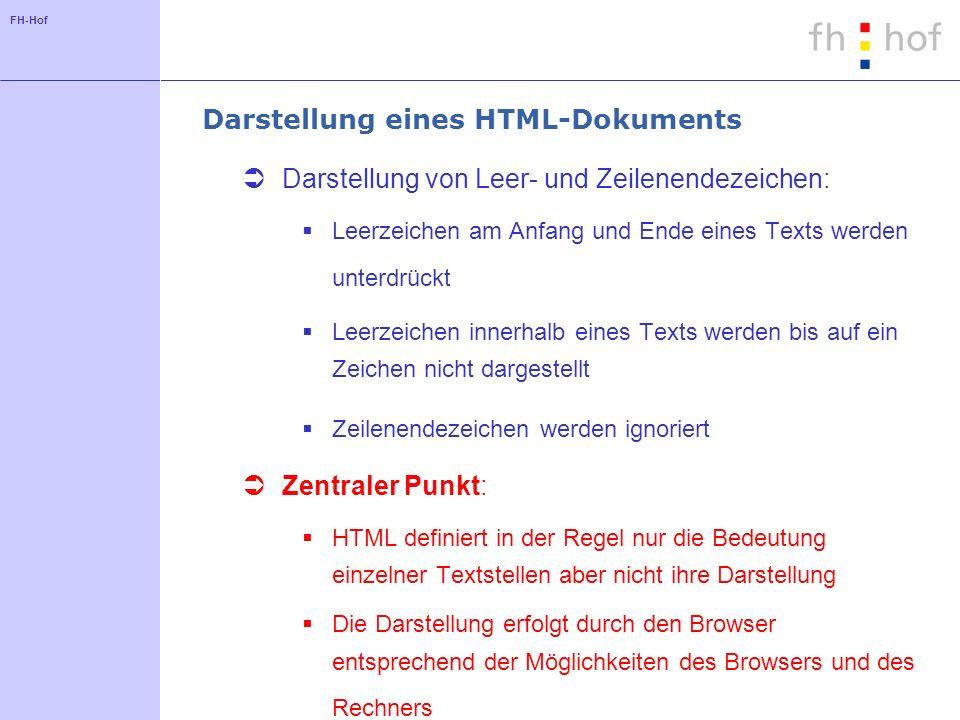 FH-Hof Darstellung eines HTML-Dokuments Darstellung von Leer- und Zeilenendezeichen: Leerzeichen am Anfang und Ende eines Texts werden unterdrückt Lee
